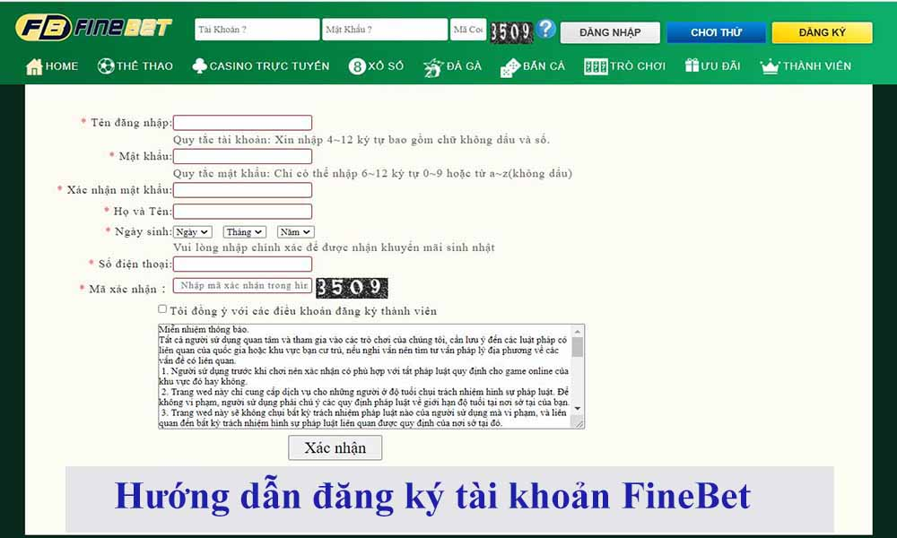 Hướng dẫn đăng ký tài khoản FineBet
